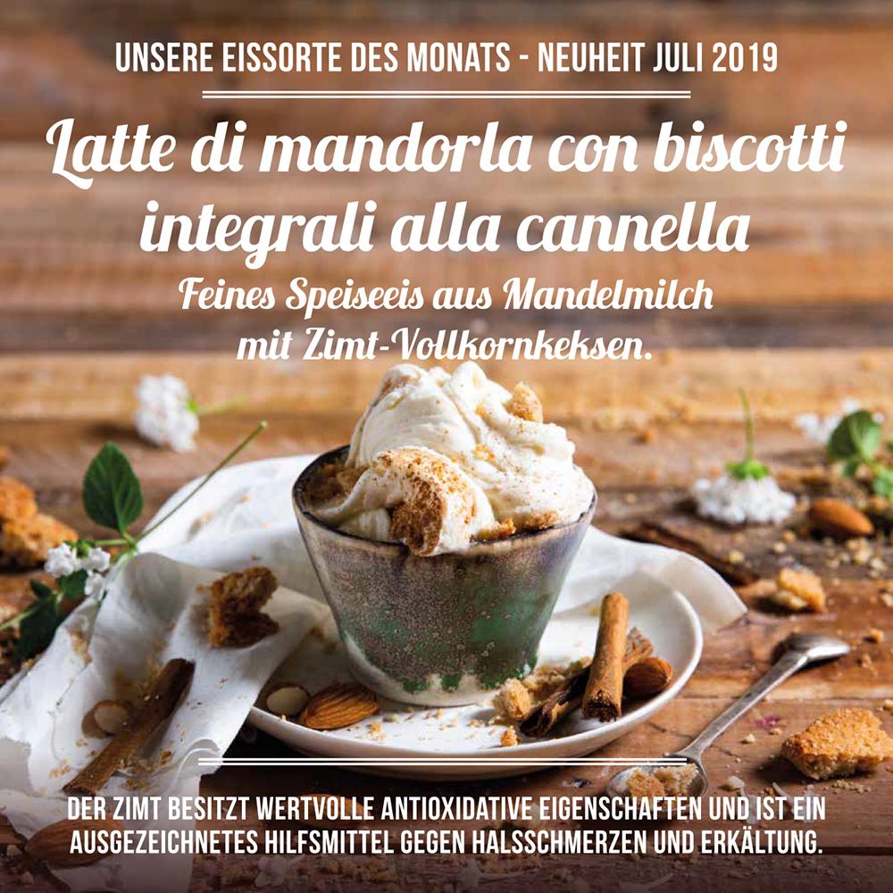 Latte di Mandorla con biscotti integrali alla cannella, Eis aus Mandelmilch mit Vollkorn-Zimtkeksen